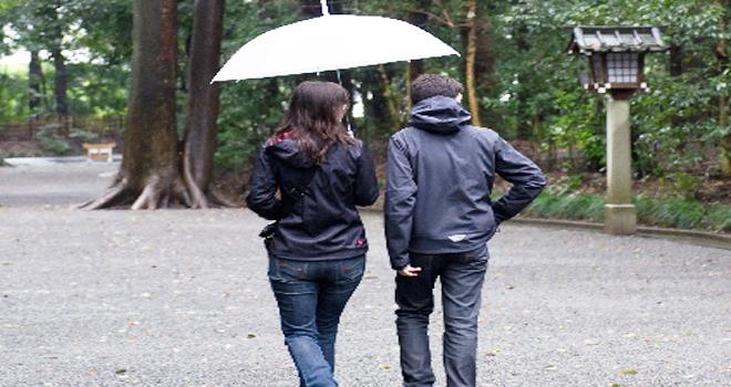 神社の参拝中に雨が降る